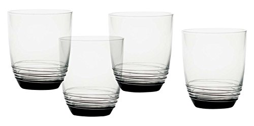 Mikasa Swirl Smoke Double Old Fashioned Glass (Set of 4), 13.5 oz