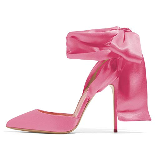 FSJ Women Strappy Ankle Wrap Sandals Pointed Toe High Heels D'Orsay Slingback Pumps Shoes Size 7 Pink ()