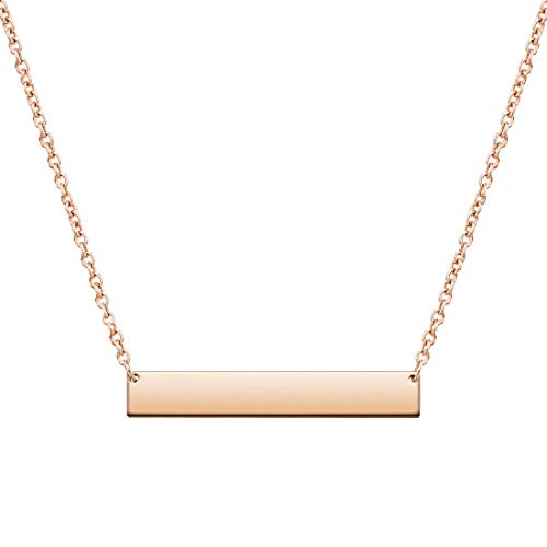 - THREE KEYS JEWELRY 316L Stainless Steel Rose Gold Tone Engravable Bar Pendant Disc Necklace Jewelry for Womens and Girls (16