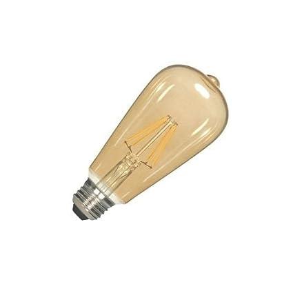 Light Bulbs 6.5W Satco S9579 ST19 LED Transparent Amber Medium Base Light Bulb Home, Furniture & DIY