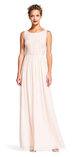 Adrianna Papell Sleeveless Chiffon Dress Geometric Beaded Bodice, Blush, 8 (Chiffon Gown Papell Beaded Adrianna)