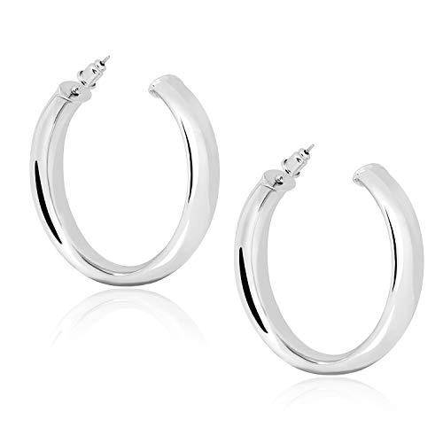 Silver Plated Big Hoop Earrings for Women Girls Statement 2in 50mm Pierced Pave Thick Hoops Dangle Earrings Statement Jewelry