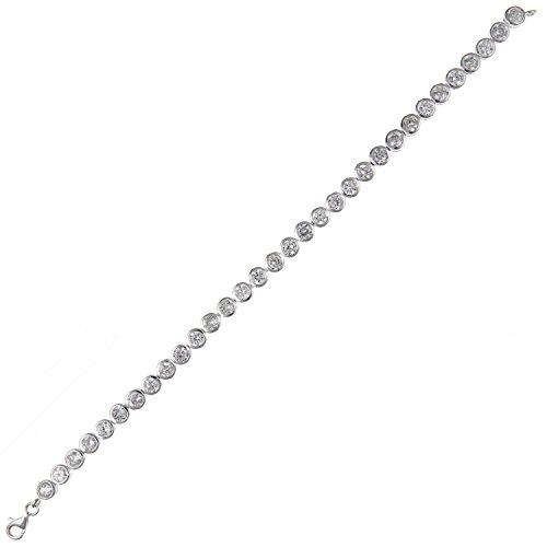 """Pour Femme En Argent Sterling 5mm rub-over oxyde de zirconium rond (CZ) Bracelet de Tennis-19,1cm """"/19cm-Façade réglage"""