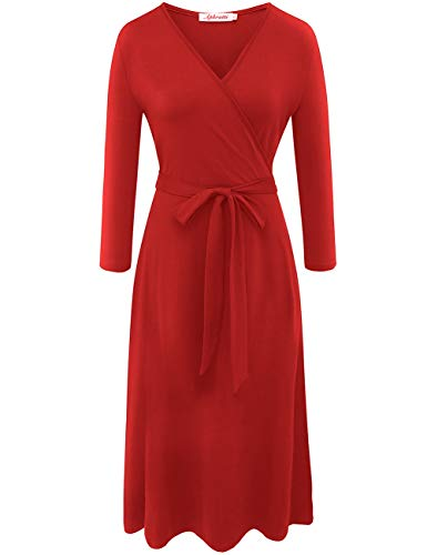 Aphratti Women's 3/4 Sleeve V Neck Faux Wrap Casual Cocktail Swing Dress X-Large Red