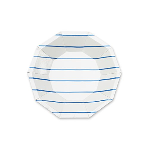 (Paper Plates Dessert Plates Salad Plates Party Supplies Blue Stripes 7.5 inch Pack of 16)