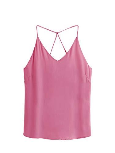 (SheIn Women's Casual V Neck Criss Cross Spaghetti Strap Chiffon Cami Tank Top Hot Pink L)
