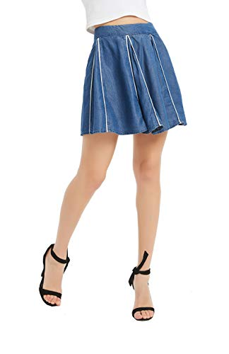 Tronjori Womens Tencel Denim Skirt Patchwork Piping Mini Midi Skirt(XS,Blue) ()