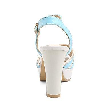 LvYuan Mujer Sandalias Confort Tira en el Tobillo Cuero Patentado Verano Vestido Confort Tira en el Tobillo Tacón Robusto Blanco Negro Azul Rosa blushing pink