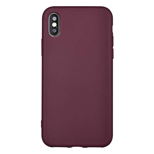 iPhone X Case,iPhone Xs Case, Manleno Slim Fit Skin Feel Soft TPU Bumper Back Cover Case for iPhone X Xs 5.8 inch (Burgundy)