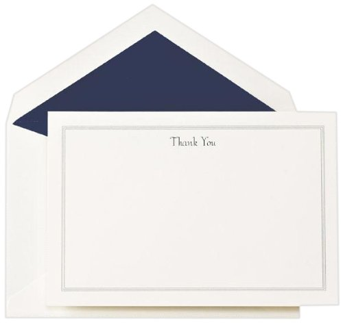 (Crane & Co. Navy Triple Hairline Thank You Card (CT3304), Pack of)