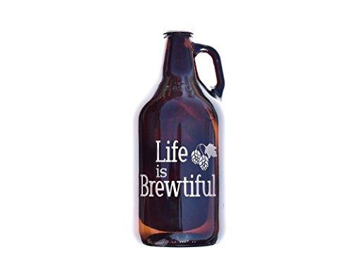 (Life is brewtiful, 64 oz Beer Growler)