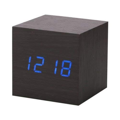 Modern Wooden Wood Digital LED Desk Alarm Clock Thermometer Timer Calendar (Color : Black) ()