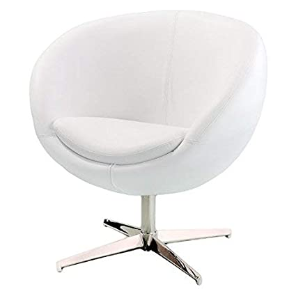Amazon.com: Best Selling Modern Leather Round Back Chair, White: Kitchen U0026  Dining