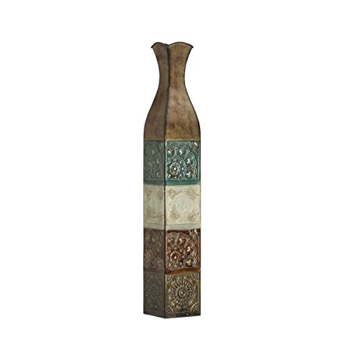 elements-embossed-metal-suzani-tile-decorative-vase-34-inch