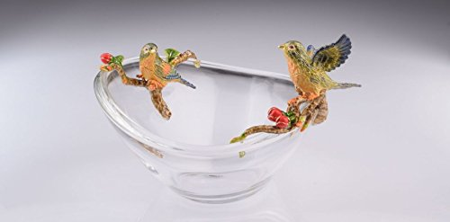 Keren Kopal Two Birds on Glass Plate Faberge Styled Trinket Box by Home Decor Decorative Box - Faberge Egg Plates