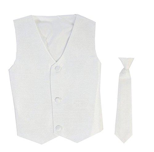 White Kids Vest - Vest and Clip On Boy Necktie set - WHITE - 6/7