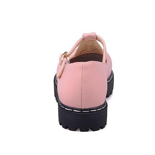 AllhqFashion Mujer Material Suave Puntera Cerrada Puntera Redonda Mini Tacón Hebilla Sólido De salón Rosa