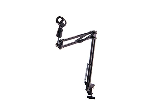 Singdamic Microphone Suspension Clip Adjustable Boom Scissor Arm Stand, Compact Mic Stand Made of Durable Steel for Radio Broadcasting Studio, Voice-Over Sound Studio, Stages, and TV Stations Mic Clip by Singdamic