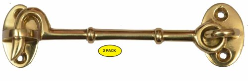 Set of 2 Solid Brass Cabin Door Hook Eye Latch Cabin Door Gate Latches Window Sash Catch Hook Lock Polished Lacquered Finish (Hook And Eye Latch Brass)