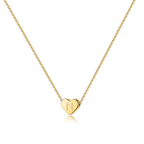 Turandoss Heart Initial N Necklace for Women - 14K Gold Filled Heart Initial Necklaces for Women, Tiny Gold Initial Necklace for Girls Kids Child, Heart Initial Necklace Gifts for Teen Girls Kids