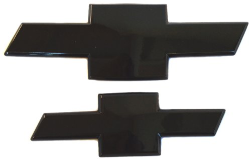 AMI 96134K Chevy Bowtie Grille & Trunk Emblem with Border- Black Powder coat, 2 Pack