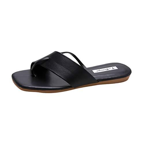 Women's Flip-Flop ✔ Hypothesis_X ☎ Flip-Flops Ring Open Toe Shoe Summer Casual Sandals Square Toe Flat Flip Flops Shoes Black (Best False Tan For Legs)