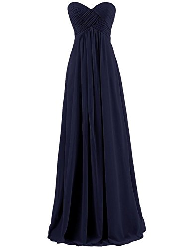 Bridesmaid Dresses Long Prom Dress Evening Party Gowns Plus Size Chiffon Sweetheart Maxi for Women Navy_Blue US ()