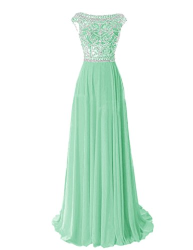 Shiningdress Women's Crystals Scoop Neck Sexy Back Prom Gown Size 16 Mint