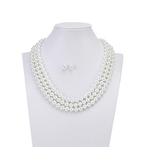 LEILE 8mm White 59inch Faux Knotted Glass Imitation Pearls Necklace Bead Diameter Earring Buckle Jewelry Set for Women Girl