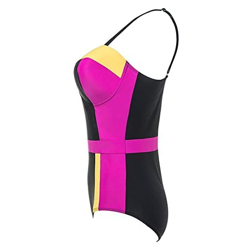 9aa63d0b724 Clearance! Zando Women Vintage Retro One Piece Swimsuit Color Block High  Waist Cute Plus Size