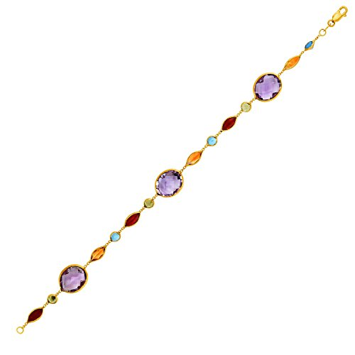 14k Yellow Gold Bracelet with Multi-Colored Stones -