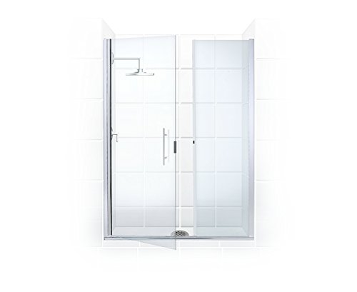 Illusion Series 56 in. to 57.25 in. x 66 in. Frameless Shower Door and Inline Panel with Ladder Pull Handle in Chrome and Clear Glass