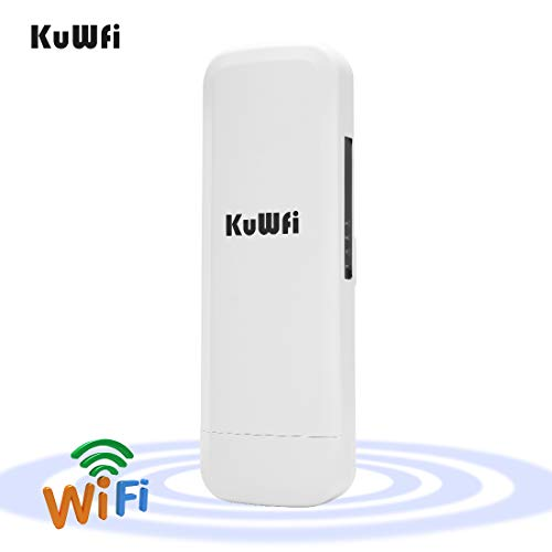 KuWFi Outdoor CPE WiFi 300Mpbs 2.4G Waterproof Outdoor CPE 1W High Power 3KM Long Range Wireless Outdoor AP Access Point CPE with POE Adapter &15dbi Antenna Long Range with LED Display Update Version