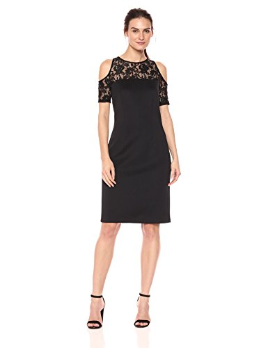 S.L. Fashions Women's Floral Lace Sheer Yoke Cold Shoulder Sheath Dress, Black 12