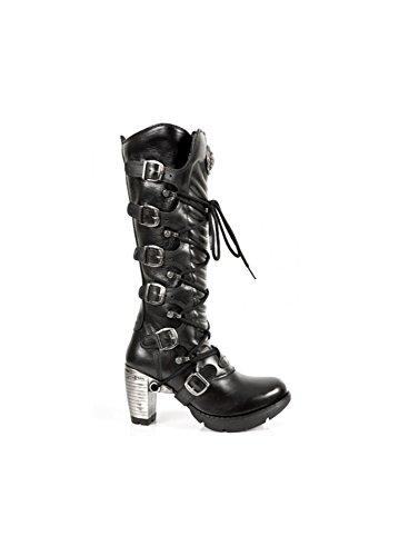 NEWROCK New Rock TR004 S1 Ladies schwarzen Lederschnalle Spitze kniehohe Stiefel mit Reißverschluss Größe 36