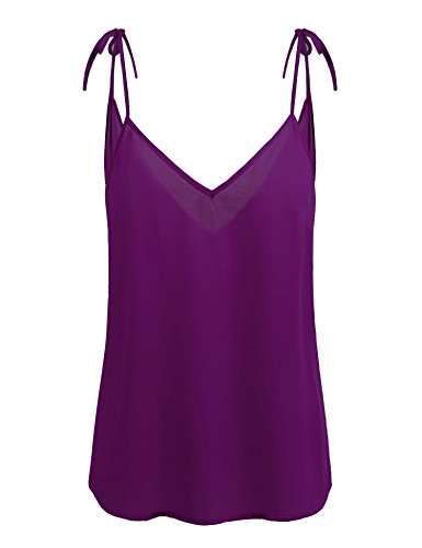 Womens V Neck Cami Tank Top Strap Sleeveless T Shirt Casual Loose Cotton Vest Blouse Purple L