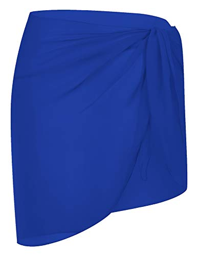 DOSWODE Women's Swimsuit Cover Up Summer Beach Wrap Skirt Swimwear Chiffon Pareo Sarong Bikini Coverups Royal Blue