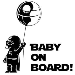 "Darth vader baby on board star wars Sticker Decal For laptop Car Windows Room (5.5"" inches, Black)"