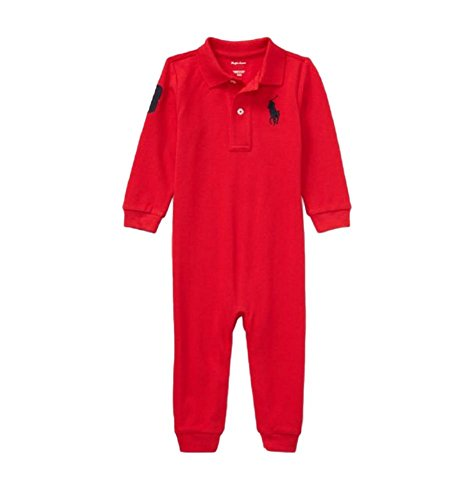 RALPH LAUREN Baby Boys L/S Mesh Polo Coverall (RL2000 Red, 3 (Mesh Polo Coverall)