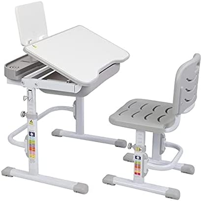 Qikafan ertongzhuoyi 70CM Lifting Table can tilt Children's Study Table and Chair Gray (with Reading Rack, Without lamp) SLIGNU