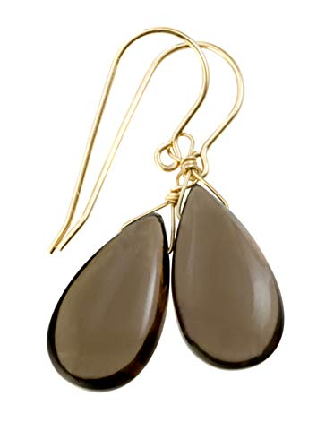 14k Yellow Gold Filled Smoky Quartz Earrings Smooth Teardrops Simple Light Brown Grey Smokey Drops ()