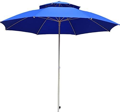 屋外パラソル/ガーデンパラソル ガーデンパラソル傘2.2mクランクハンドル付き、屋外のテラス用のコンパクトな日よけ、8リブ、耐紫外線-青 (Color : Without Tilt)