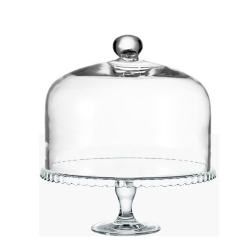 Leonardo Cupola Bell Jar with Knob 29 x 22 cm with Cake Plate On Foot Set/2 Tlg. Glaskoch