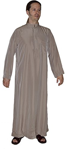 Men Saudi Style Thobe Daffah Dishdasha Islamic Arabian Kaftan Brown 56 Inches Long by Moroccan Men Clothing