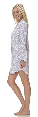 (C51061PD) Pajama Drama Women's Super Soft Button Down Notched Collar Sleepshirt in Denim Size: M