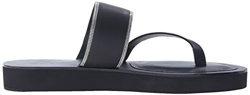 UNA Slide Delman V Chain Vachetta Sandal Black D Womens Fine qgSPwxZT
