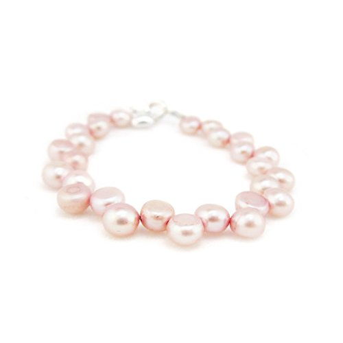 Luxury Pink Freshwater Pearl Beaded Keepsake Child Girl Elegant Bracelet (BFP_L) - Pearl Communion Freshwater Bracelets