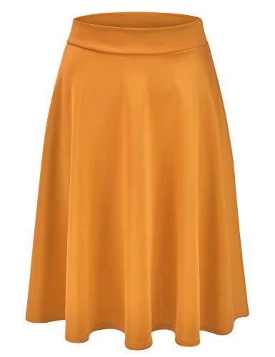 EIMIN Women's Basic Versatile Stretchy Flared Casual Midi Skater Skirt Mustard S