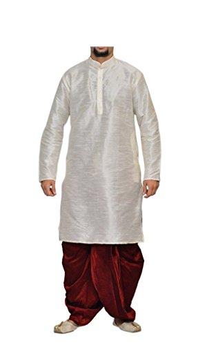 Dhoti Kurta (MAG Men's White Kurta Maroon Dhoti (RG-1505-38))