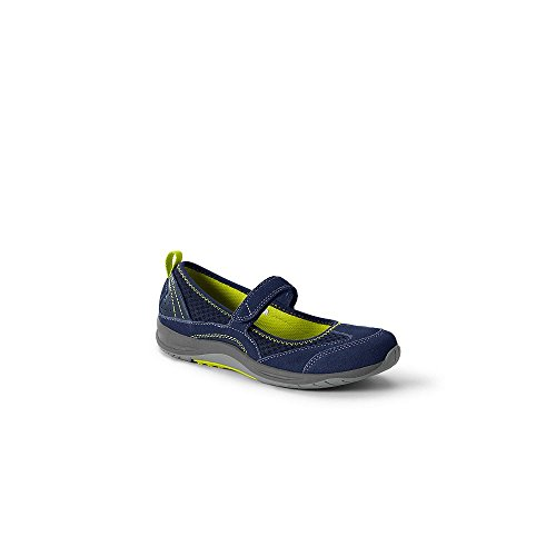 Lands' End Women's Wide Casual Mary Janes, 7, Deep Sea